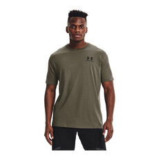 Under Armour Mens Sportstyle Left Chest Cut-Off Tee Green XS, Green, rebel_hi-res
