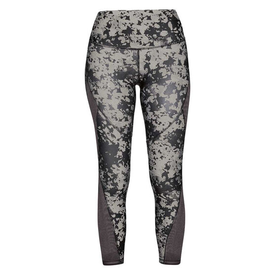 Under Armour Womens HeatGear Armour Print Ankle Crop Tights, Grey, rebel_hi-res
