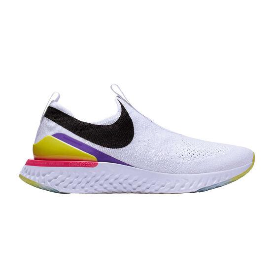 Nike Epic React Phantom Flyknit Womens Running Shoes, White / Black, rebel_hi-res