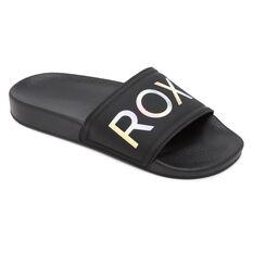 Roxy Slippy 2 Girls Slides Black US 11, Black, rebel_hi-res