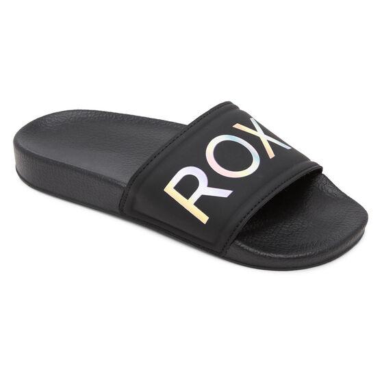Roxy Slippy 2 Girls Slides, Black, rebel_hi-res