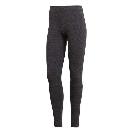 adidas Womens Essential Linear Tights, Grey / Coral, rebel_hi-res