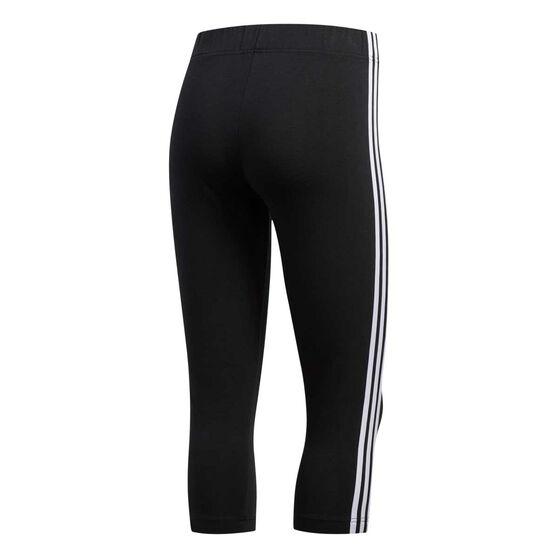adidas Womens Essentials 3 Stripes 3/4 Tights, Black, rebel_hi-res
