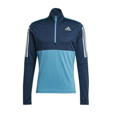 adidas Mens Own The Run Half-Zip Sweatshirt Blue S, Blue, rebel_hi-res