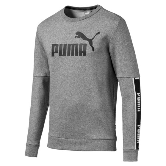 Puma Mens Amplified Long Sleeve Sweatshirt, Grey, rebel_hi-res