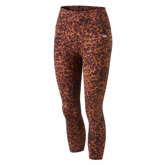 Running Bare Womens Ab Waisted Fight Club 7/8 Tights, Print, rebel_hi-res