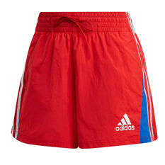 adidas Womens Colourblock 3-Stripes Shorts Red XS, Red, rebel_hi-res