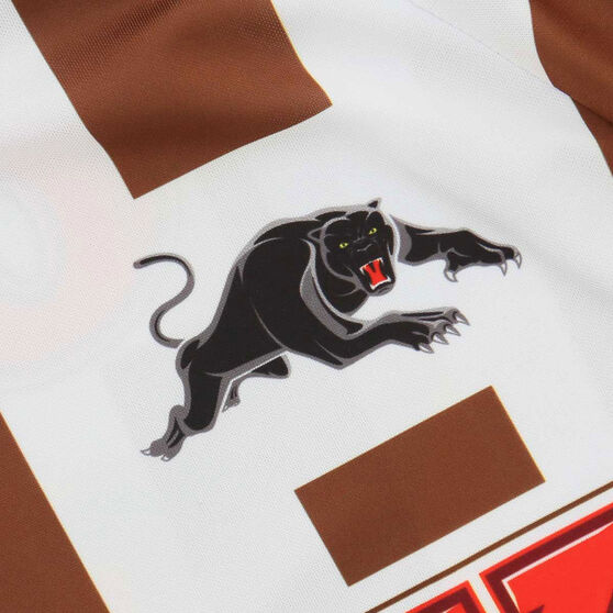 Penrith Panthers 2021 Mens Warm Up Tee, White/Brown, rebel_hi-res