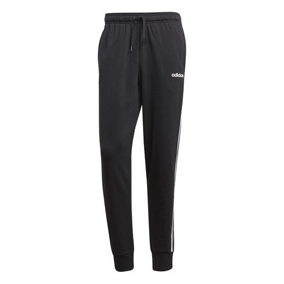 adidas Mens Essentials 3-Stripes Tapered Track Pants, Black, rebel_hi-res