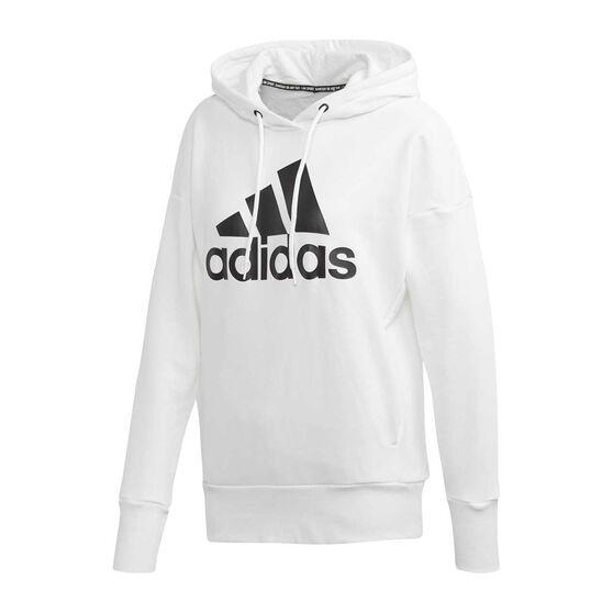 adidas Womens Badge of Sport Long Hoodie, White, rebel_hi-res