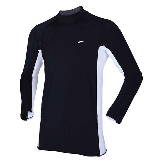 Speedo Mens Long Sleeve Slim Fit Sun Top, Black / White, rebel_hi-res