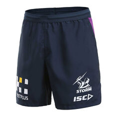 Melbourne Storm 2020 Mens Training Shorts Navy S, Navy, rebel_hi-res