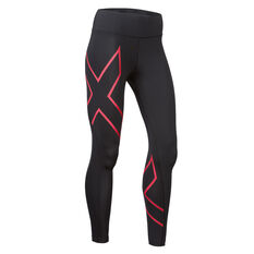 2XU Womens Bonded Mid Rise Compression Tights Black / Hibiscus XS, Black / Hibiscus, rebel_hi-res