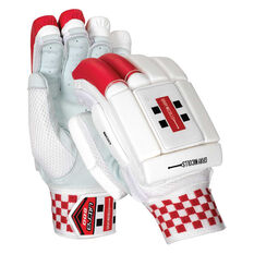 Gray Nicolls Ultra 800 Junior Cricket Batting Gloves White / Red Youth Right Hand, White / Red, rebel_hi-res