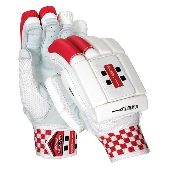 Gray Nicolls Ultra 800 Junior Cricket Batting Gloves, White / Red, rebel_hi-res