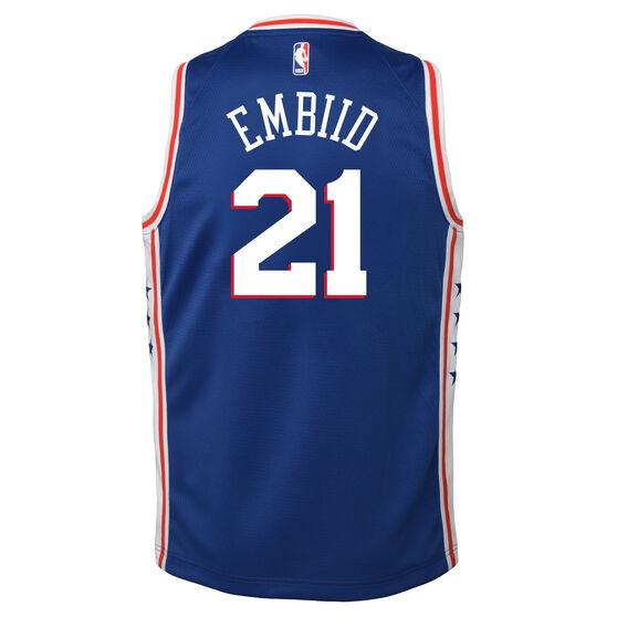 Nike Philadelphia 76ers Joel Embiid Icon 2019 Kids Swingman Jersey, Blue / Red, rebel_hi-res
