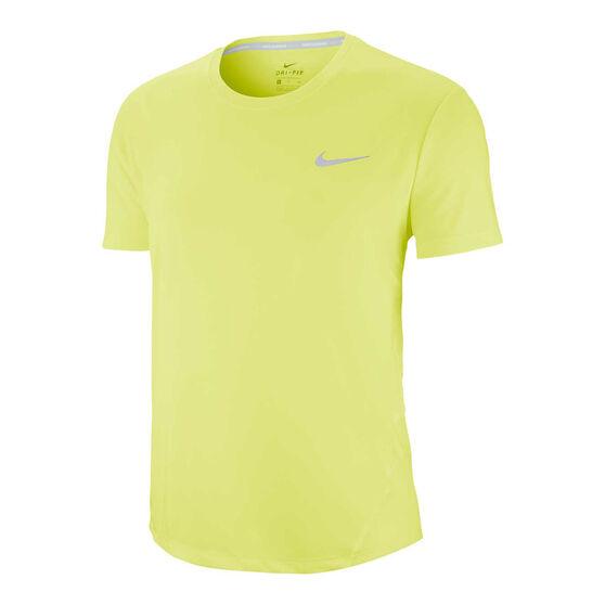 Nike Womens Miler Running Tee, Yellow, rebel_hi-res