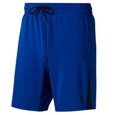Reebok Mens Workout Ready Woven Shorts Blue S, Blue, rebel_hi-res