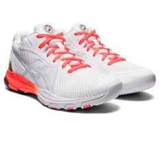 Asics GEL Netburner Ballistic FF MT 2 Celebration of Sport Womens Netball Shoes, White/Red, rebel_hi-res