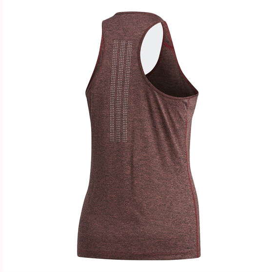 adidas Womens Tech Prime 3-Stripes Tank, Maroon, rebel_hi-res