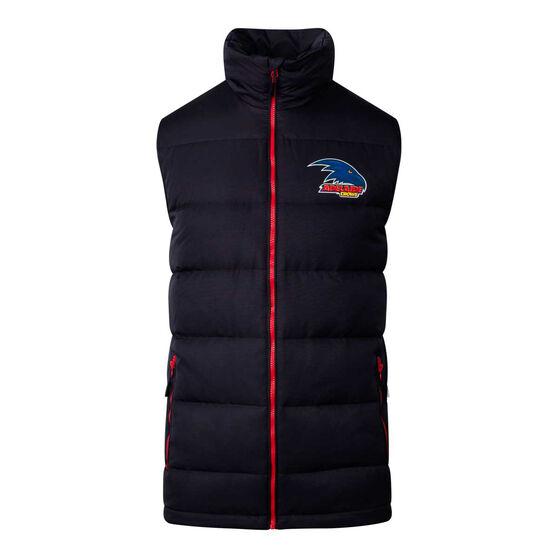 Adelaide Crows 2020 Mens Down Vest, Black, rebel_hi-res