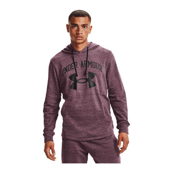 Under Armour Mens Rival Terry Big Logo Hoodie, Purple, rebel_hi-res