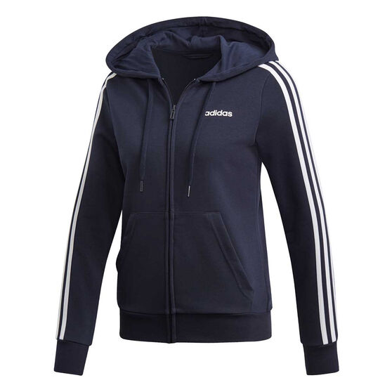 adidas Womens Essentials 3 Stripes Full Zip Hoodie, Navy / White, rebel_hi-res