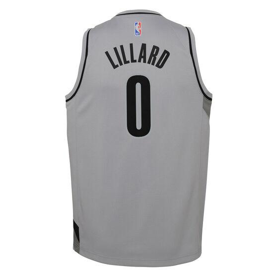 Nike Portland Trail Blazers Damian Lillard 2020/21 Kids Earned Jersey, Grey, rebel_hi-res