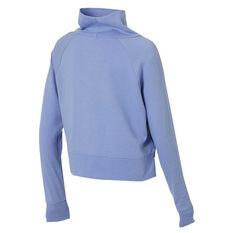 Ell & Voo Womens Rocky Funnel Neck Cropped Sweatshirt Blue XS, Blue, rebel_hi-res