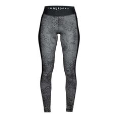 Under Armour Womens HeatGear Armour Printed Tights Black / Silver XS, Black / Silver, rebel_hi-res