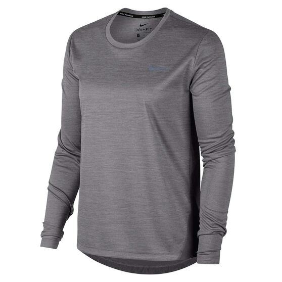 Nike Womens Miler Running Top, Grey, rebel_hi-res