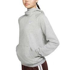 Nike Womens Sportswear Essentials Funnel Neck Fleece Hoodie, Grey, rebel_hi-res