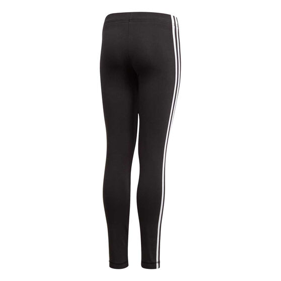adidas Girls Essentials 3 Stripe Training Tights, Black / White, rebel_hi-res