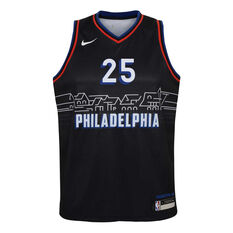 Nike Philadelphia 76ers Ben Simmons 2020/21 Kids City Edition Swingman Jersey, Black, rebel_hi-res
