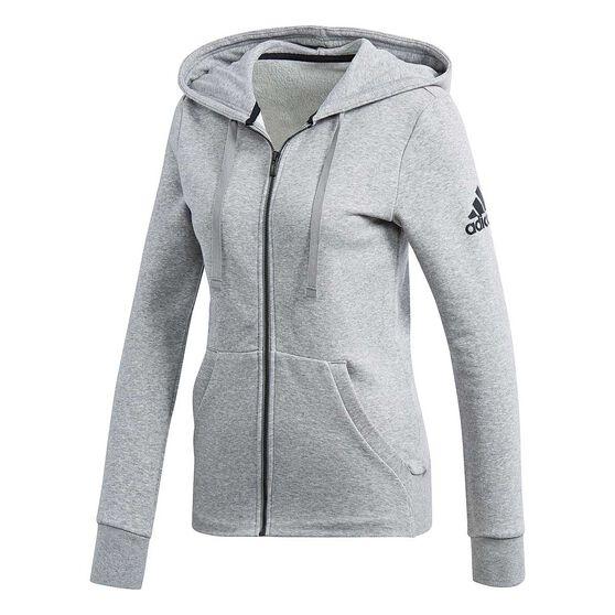 Adidas Womens Essentials Solid Full Zip Hoodie Grey Xs Adult Rebel