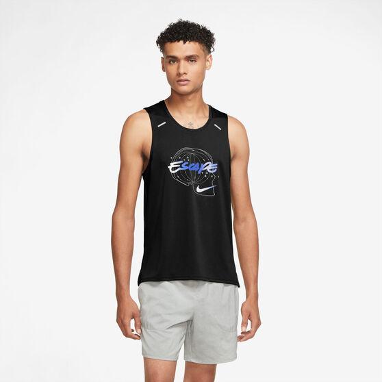 Nike Mens Dri-FIT Miler Wild Run Graphic Tank, Black, rebel_hi-res