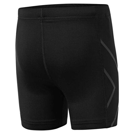 2XU Girls Half Length Compression Shorts, Black, rebel_hi-res