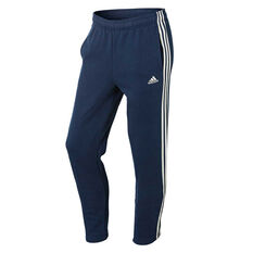 adidas Mens Essentials 3 Stripes Tapered Pants Navy / White S Adult, Navy / White, rebel_hi-res