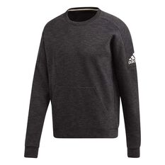 adidas Mens ID Stadium Crewneck Sweatshirt Black / Grey S, Black / Grey, rebel_hi-res