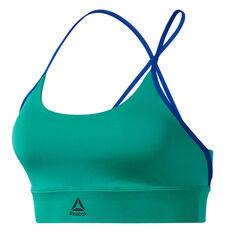 Reebok Womens Workout Ready Low Impact Padded Sports Bra Green XS, Green, rebel_hi-res