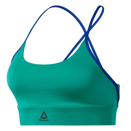 Reebok Womens Workout Ready Low Impact Padded Sports Bra, Green, rebel_hi-res