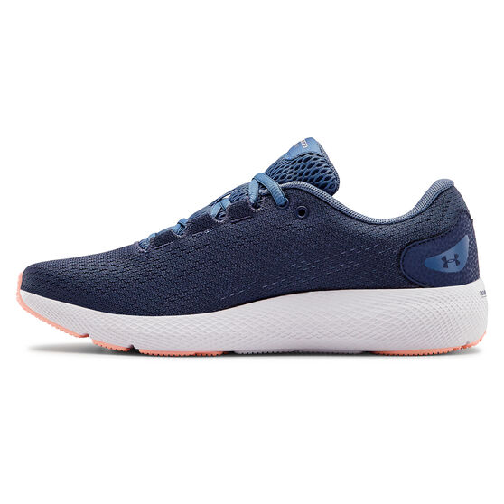 Under Armour Charged Pursuit 2 Womens Running Shoes, Blue / White, rebel_hi-res
