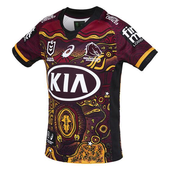 Brisbane Broncos 2021 Kids Indigenous Jersey, Maroon, rebel_hi-res