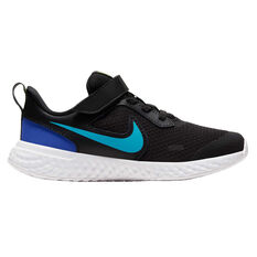 Nike Revolution 5 Kids Running Shoes Black / Blue US 11, Black / Blue, rebel_hi-res