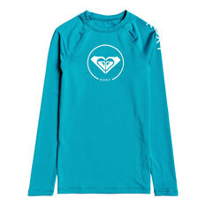 Roxy Girls Beach Classic Long Sleeve Lycra Rash Vest Blue 8, Blue, rebel_hi-res