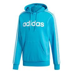 adidas Mens Essentials 3-Stripes Pullover Hoodie Green / Blue S, Green / Blue, rebel_hi-res