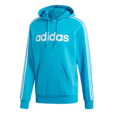 91353ccb adidas Mens Essentials 3-Stripes Pullover Hoodie Green / Blue S, Green /  Blue
