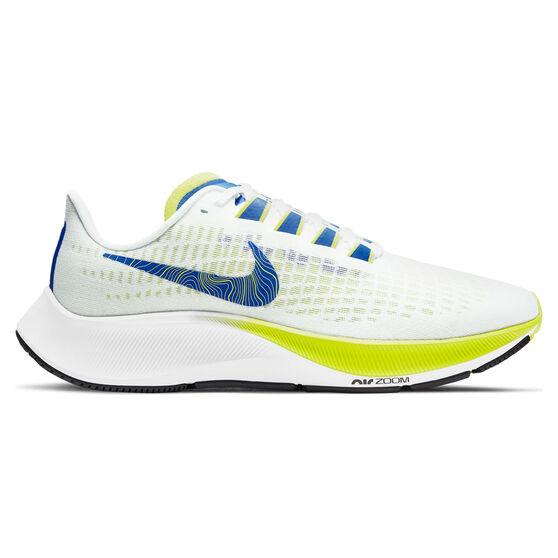 Nike Air Zoom Pegasus 37 Womens Running Shoes, White/Blue, rebel_hi-res