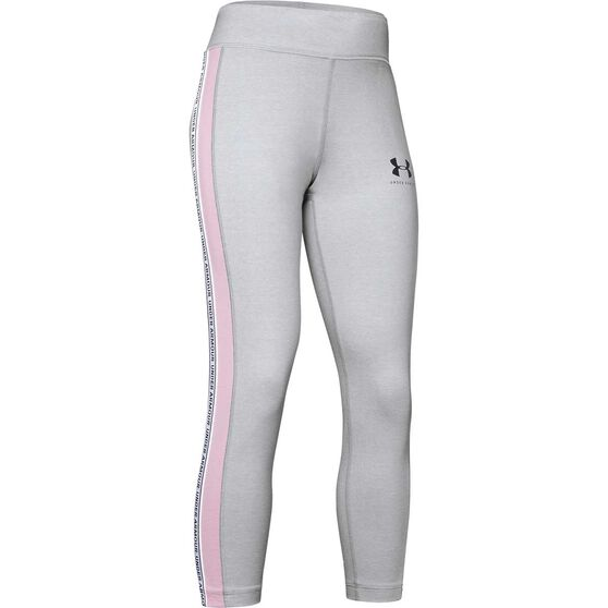 Under Armour Girls Sportstyle Taped Cropped Pants Grey XL, Grey, rebel_hi-res