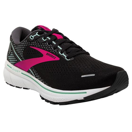 Brooks Ghost 14 Womens Running Shoes, Black/Pink, rebel_hi-res